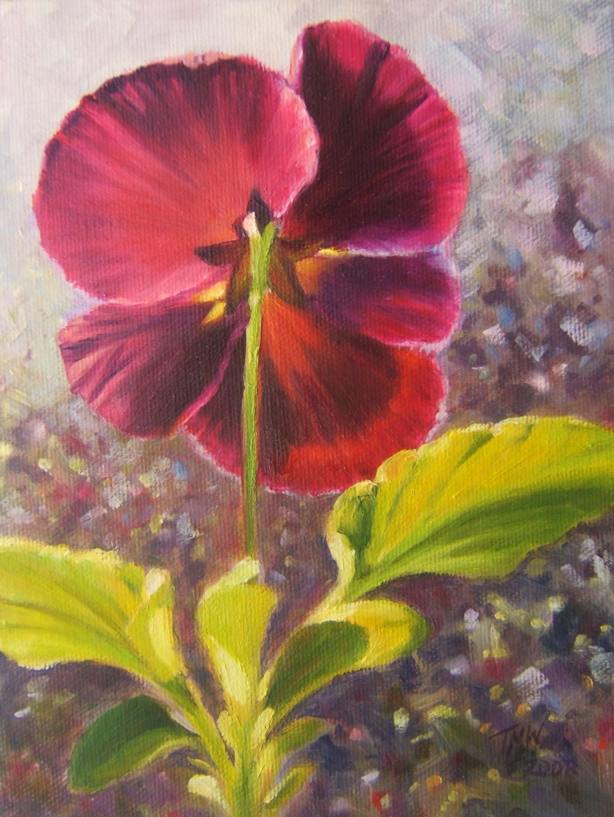 """Purple Glow"" 8"" x 6"" oil on canvas ©2008 Tina M Welter  Sunlight through the petals of a purple pansy."