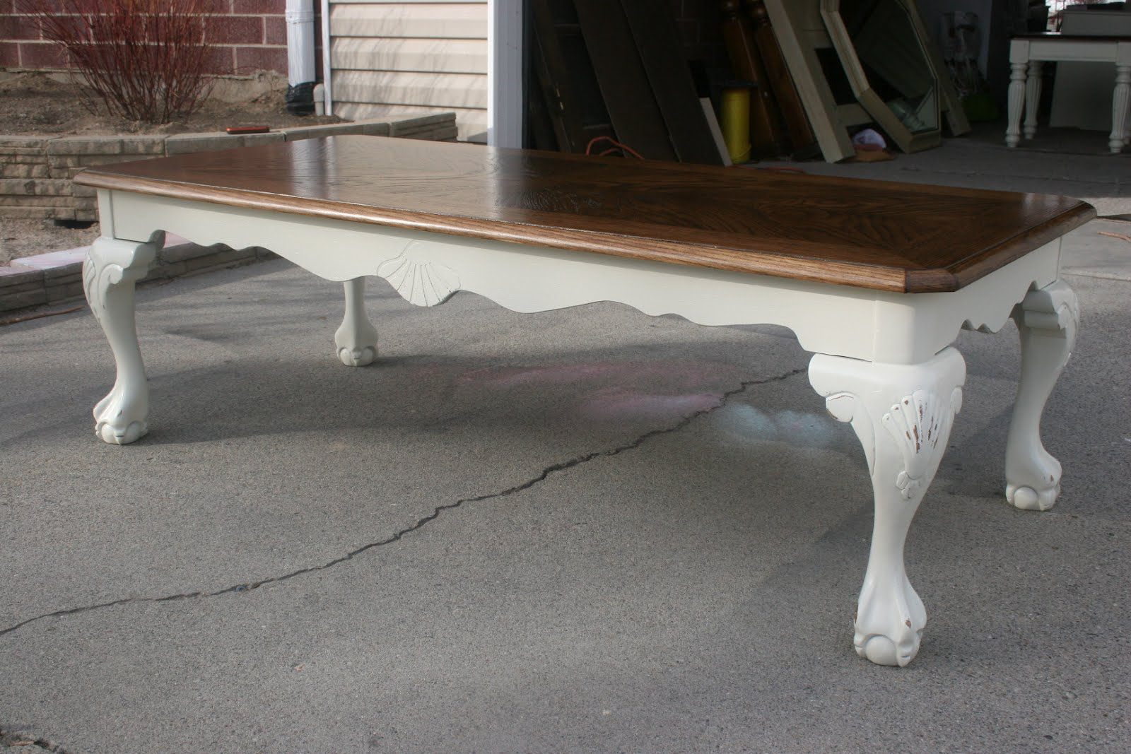 ... Clawfoot Coffee Table NOW 60.00. SOLD 2 Matching Solid Wood Two Toned  Distressed Side Tables NOW 110.00