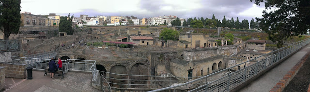 "View of the site Ercolano, Herculineum with the ""modern"" developments at the back"