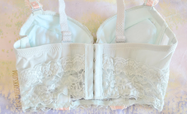 The Leanne bustier bra set from Petite Cherry has lovely sheer lace trim on the front and the back, along with removable padding and a 5-hook closure.