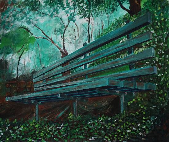 Garden Bench, painting by Nidhi Mittal ( part of her portfolio on www.indiaart.com )