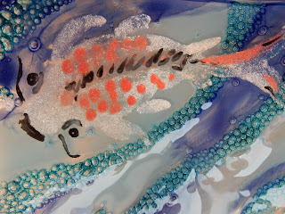 Close-up of painted koi