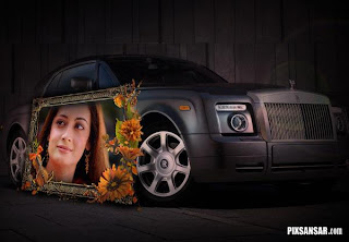 Frame your photo on this flower border with stylish expensive black car