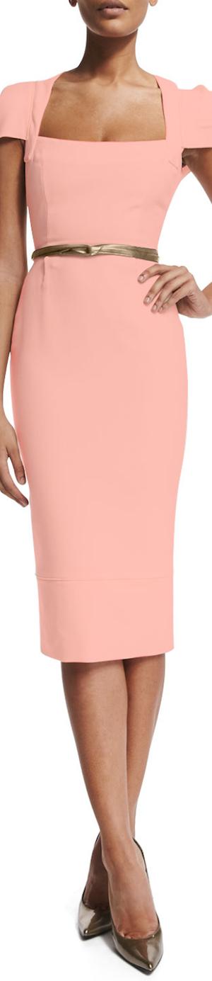 Roland Mouret Galaxy Square-Neck Sheath Dress, Rose Pink