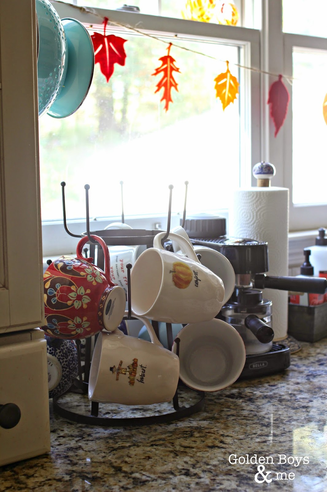 Fall coffee mugs and Target felt leaf garland-www.goldenboysandme.com