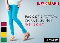 Buy Pack of 5 Cotton Lycra Leggings at Rs. 569 only