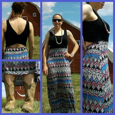 Mixed maxi dress