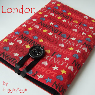 Red 'I Love London' Kindle cover, handmade in Wales, UK.