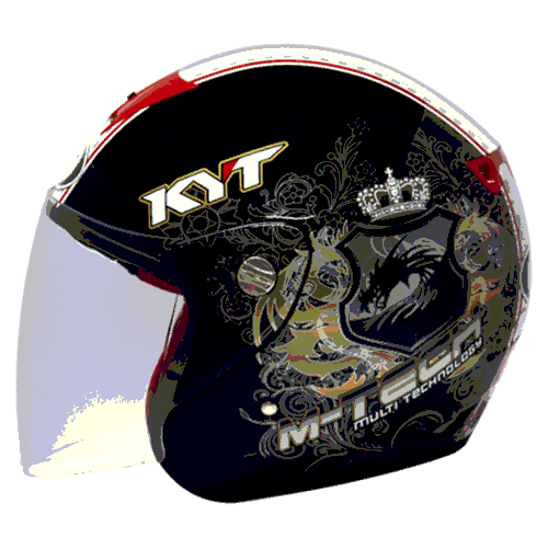 helm kyt M-Tech Dragon - Black / Gold / White (O.F)