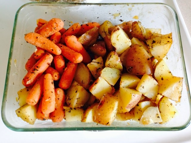 Herb potatoes and carrots