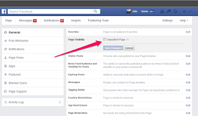 unpublish facebook page