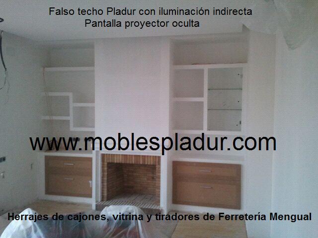 Pladur barcelona chimenea y pladur for Muebles de salon con chimenea