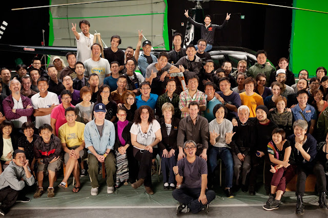 Man of Tai Chi Crew Photo with Spencer Douglass and Keanu Reeves and Michael Wong Man-tak with an R44 helicopter