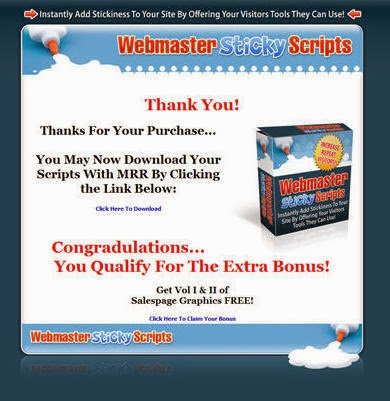 Webmaster Sticky Scripts Thank You Page