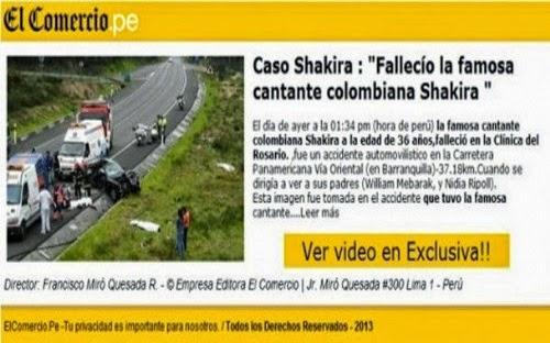 Falsa notícia sobre a morte de Shakira