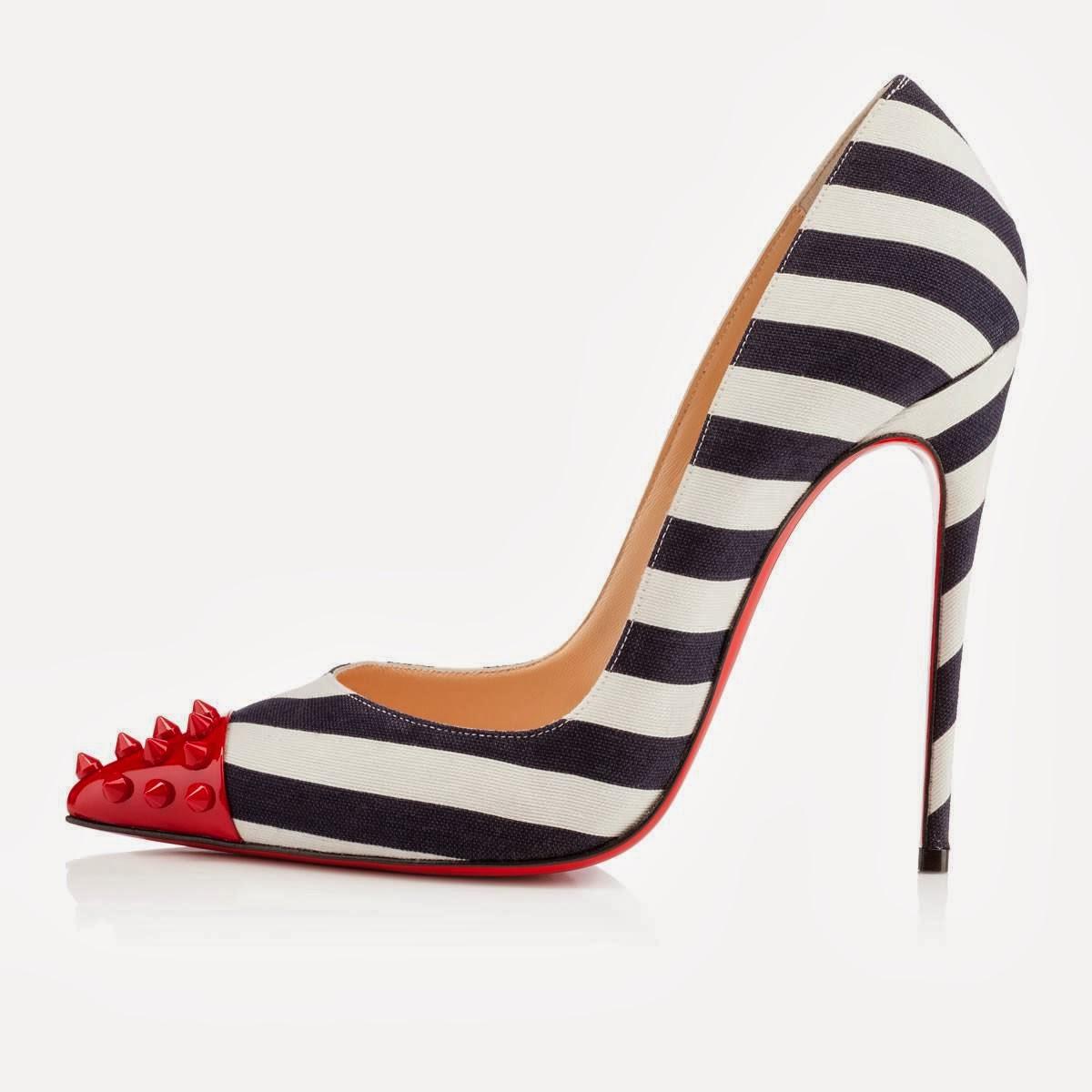 patent leather boat shoes men - Totalwrap: Christian Louboutin ��Geo Pump�� Navy Cotton Pumps