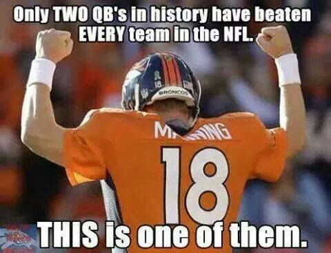 only two qb's in history have beaten every team in the nfl. this is one of them. #peytonmanning #broncos