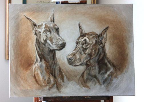Pet portraits doberman dog portrait max and maya under painting