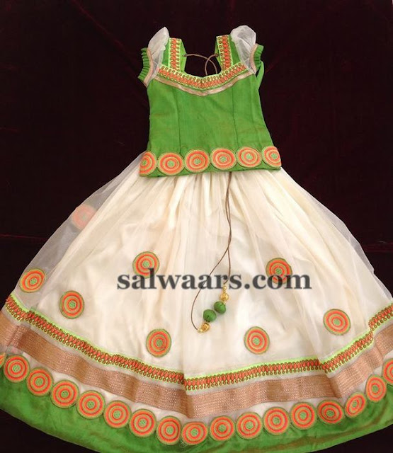 White and Apple Green Lehenga