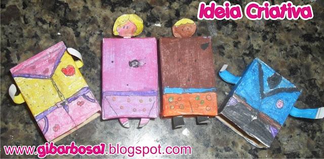Bonequinhos de Caixa de Fósforo Fazendo arte