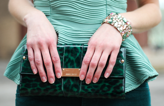 StyleSidebar - Peplum, Green Leopard Patent Jimmy Choo Clutch, Green &amp; Pink Rhinestone Bracelet
