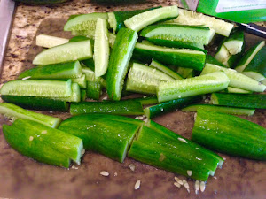 The cucumbers in spears