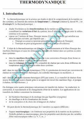 Cours THERMODYNAMIQUE 1 SMPC 1