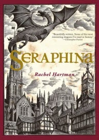 Cover art for Seraphina, featuring a woodcut of a dragon flying over a medievalesque city.