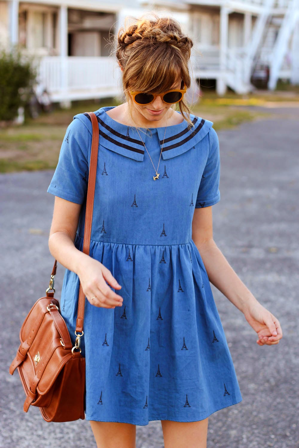 pepa loves sailor dress, montauk style post, nyc vintage fashion blog, forever 21 satchel, zero uv glasses, matt degreff
