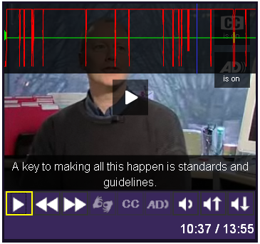 Screen shot of the JW Player with ducking and visible waveform enabled