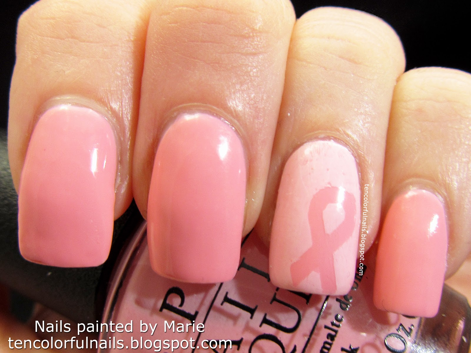 Ten Colorful Nails: Vellum Effect Nail Art for Breast Cancer ...