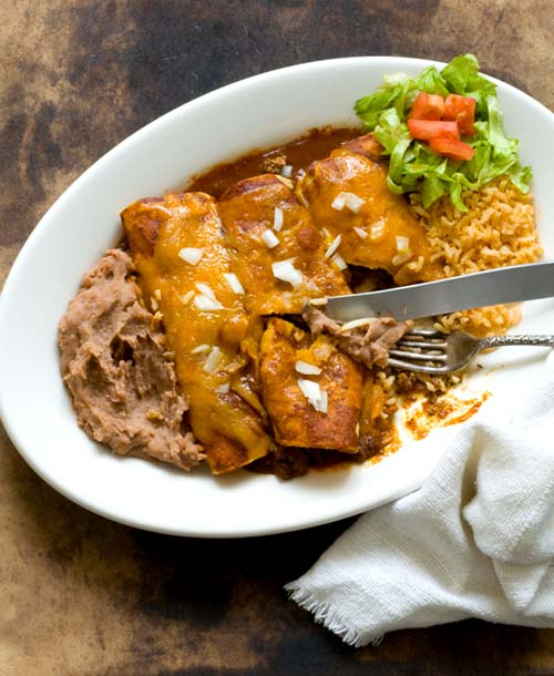 Beef enchiladas with chipotle-pasilla chili gravy | Homesick Texan