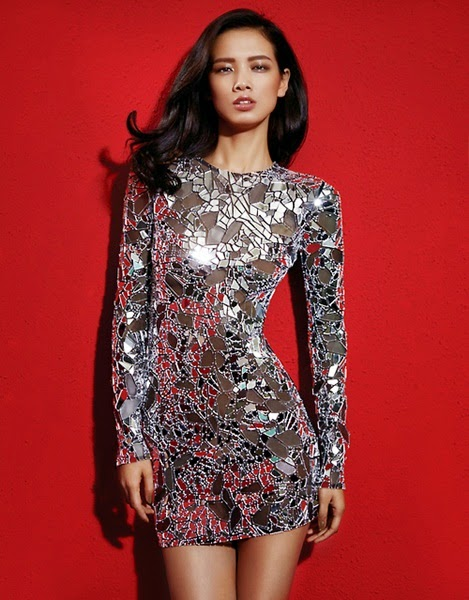 Tom Ford 2014 SS Editorial: Silver Mirror Mesh Dress