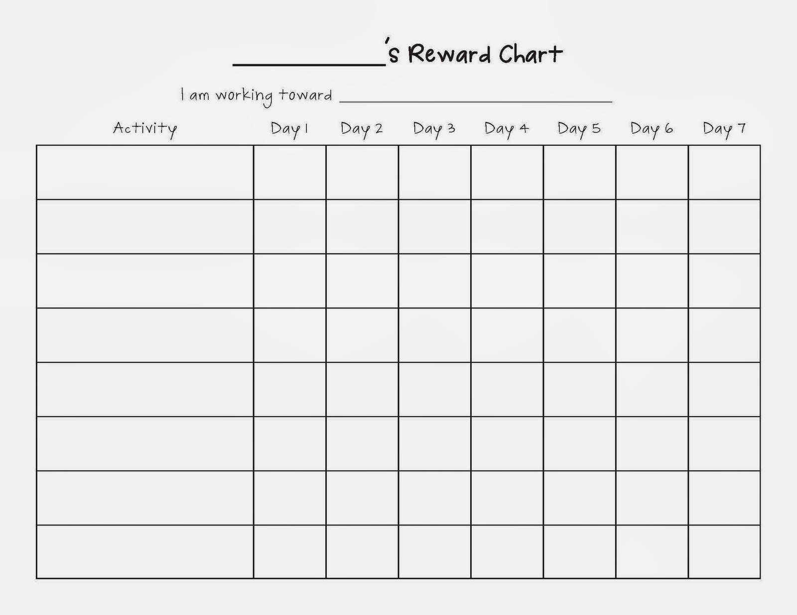 sticker chart – Behaviour Chart Template