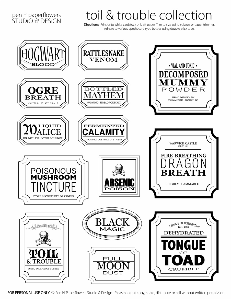 Potion Label Template Gallery - Template Design Ideas