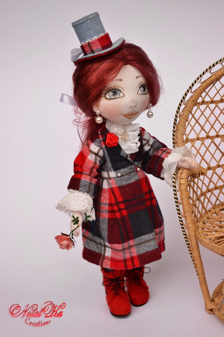 Rag cloth textille art doll. Авторская текстильная шарнирная кукла
