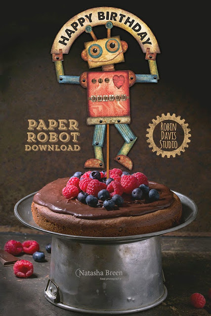 Digital Download Paper Robots by Robin Davis Studio