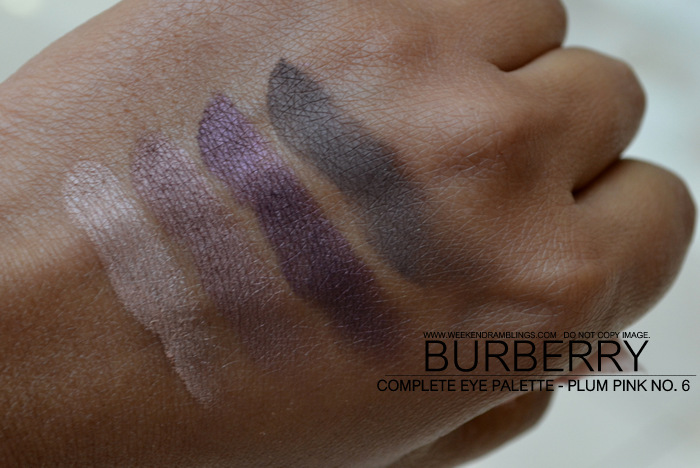 Burberry Vintage Gold Christmas Beauty Holiday 2012 Makeup Gifts Collection Complete Eyeshadow Palette Quads Indian Darker Skin Blog Swatches Plum Pink No 06
