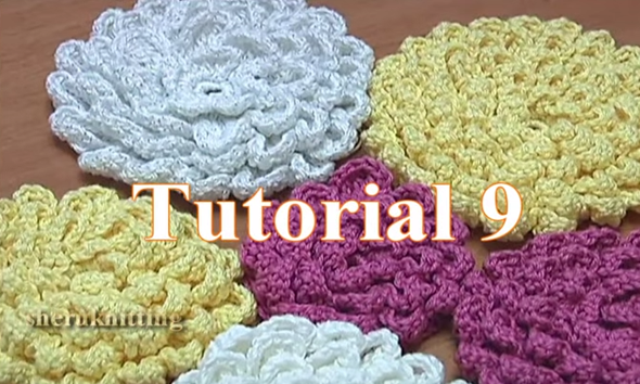 crochet fluffy flower tutorial 9 gro e blume h keln. Black Bedroom Furniture Sets. Home Design Ideas