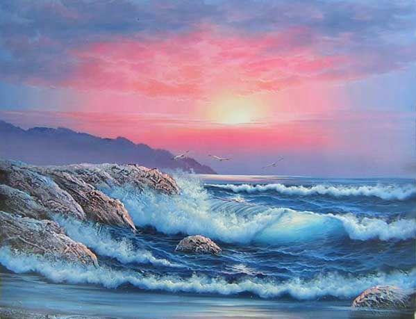 L 39 arte accessibile arredare con i dipinti a olio il mare for Paesaggi marini dipinti