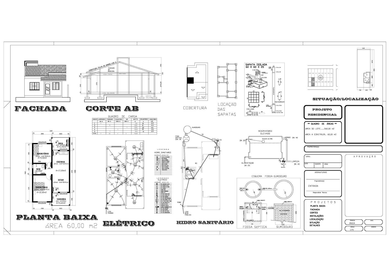 Projetos de Casas Grátis: Projeto completo de uma casa com 60 M² #343434 1600 1132