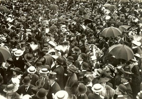 black and white picture of a large crowd