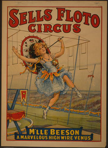 circus, classic posters, free download, graphic design, retro prints, vintage, vintage posters, Sells Floto Circus, M'lle Beeson A Marvelous High Wire Venus - Vintage Circus Poster