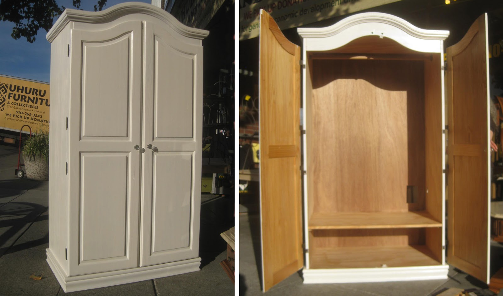 & COLLECTIBLES: SOLD Painted Wooden Clothing Armoire $100. Full resolution‎  portrait, nominally Width 1600 Height 943 pixels, portrait with #694322.