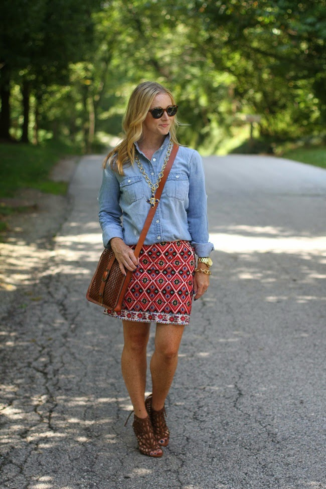 elizabeth and james sunglasses, jcrew chambray, topshop embroidered skirt, patricia nash crossbody bag, julie vos