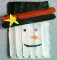 snowman popsicle stick craft