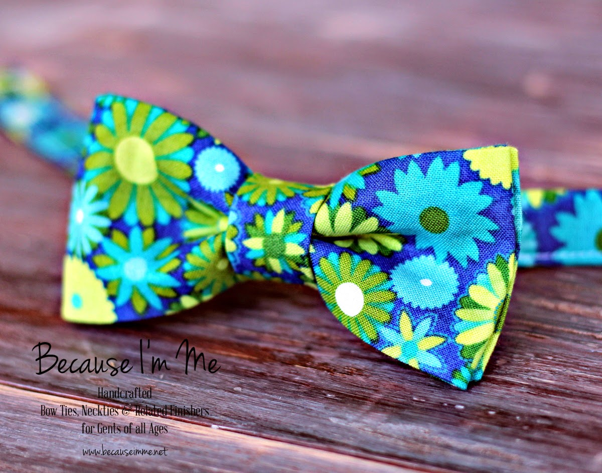 Because I'm Me blue green floral woven cotton bowtie, for men and boys