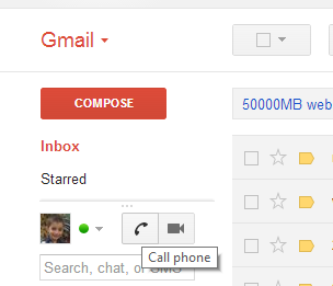 Gmail Phone call