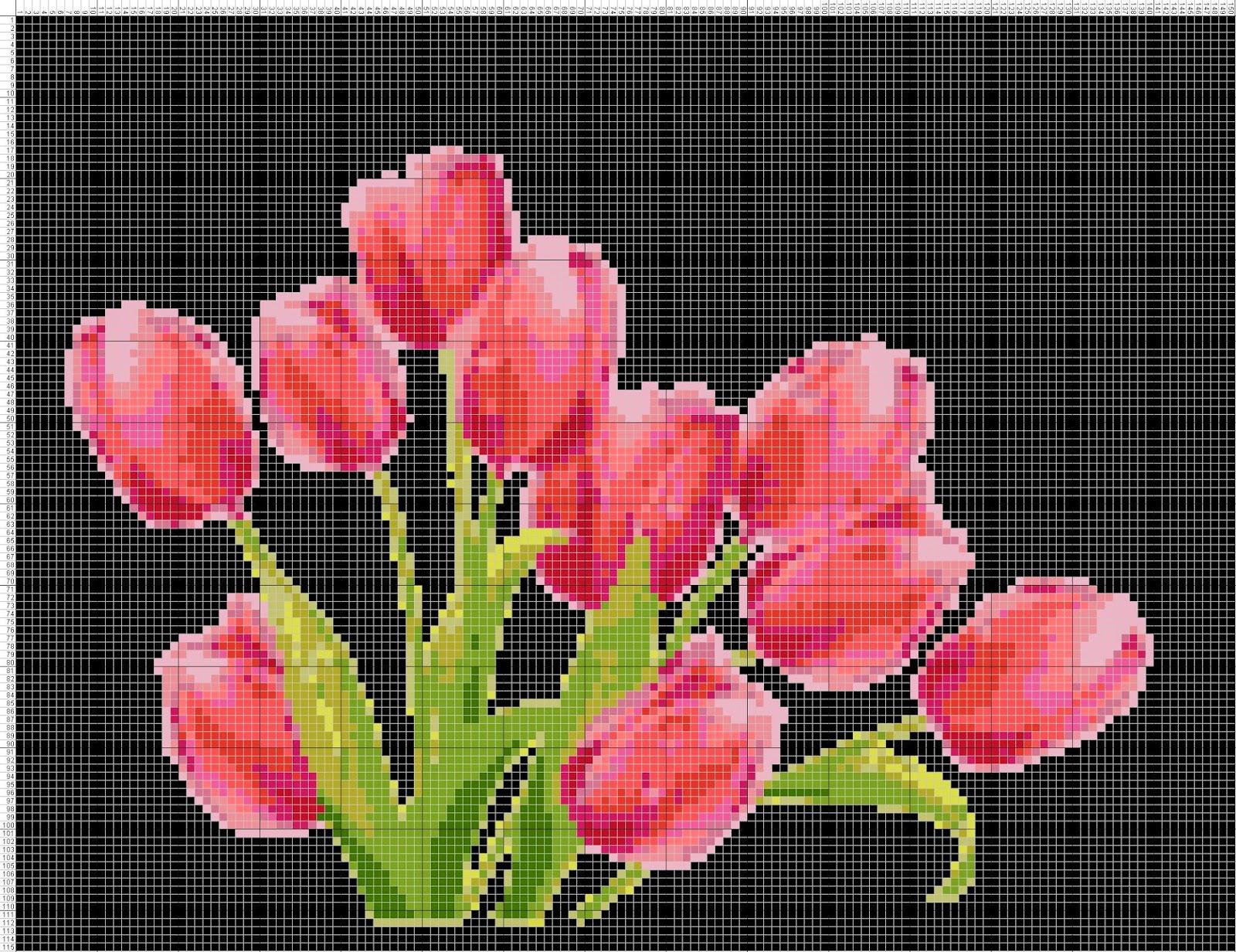 Gambar Pola Kristik Bunga Tulip Merah