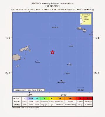 Epicentro sismo 6,5 grados en islas Fiji, 23 de Noviembre 2013